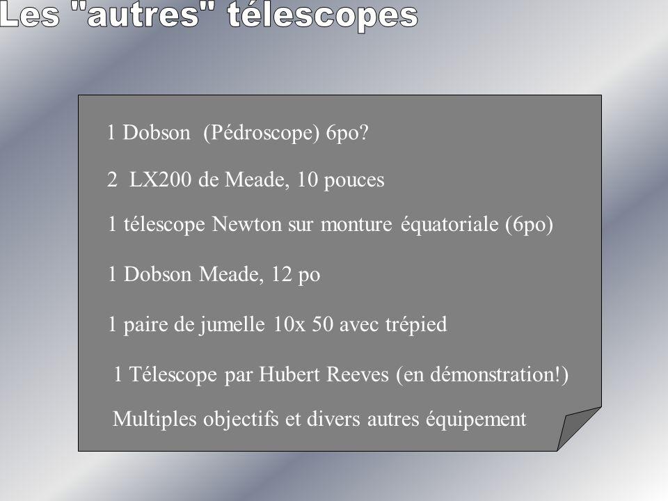 1 Dobson (Pédroscope) 6po? 2 LX200 de Meade, 10 pouces 1 télescope Newton sur monture équatoriale (6po) 1 Dobson Meade, 12 po 1 Télescope par Hubert R
