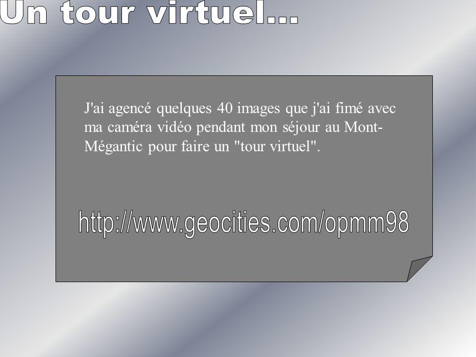 J'ai agencé quelques 40 images que j'ai fimé avec ma caméra vidéo pendant mon séjour au Mont- Mégantic pour faire un