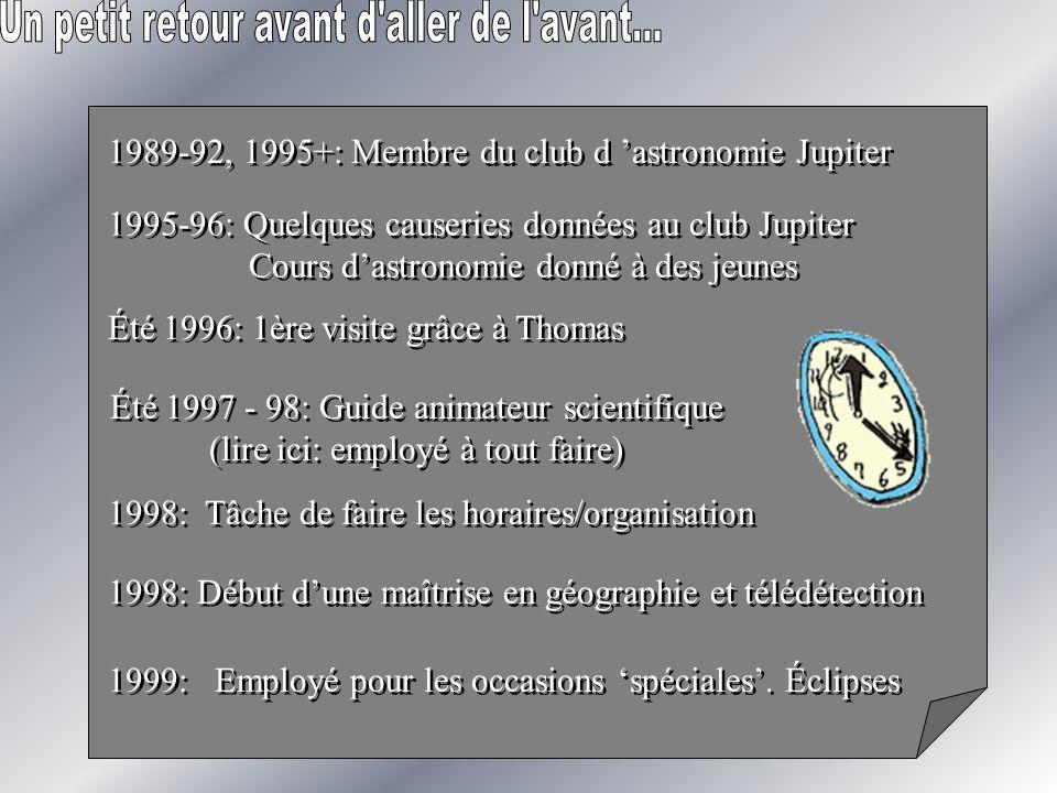 1995-96: Quelques causeries données au club Jupiter Cours dastronomie donné à des jeunes 1995-96: Quelques causeries données au club Jupiter Cours das