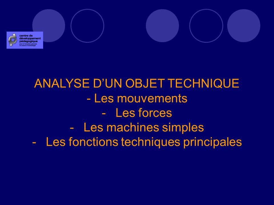 ANALYSE DUN OBJET TECHNIQUE - Les mouvements -Les forces -Les machines simples -Les fonctions techniques principales