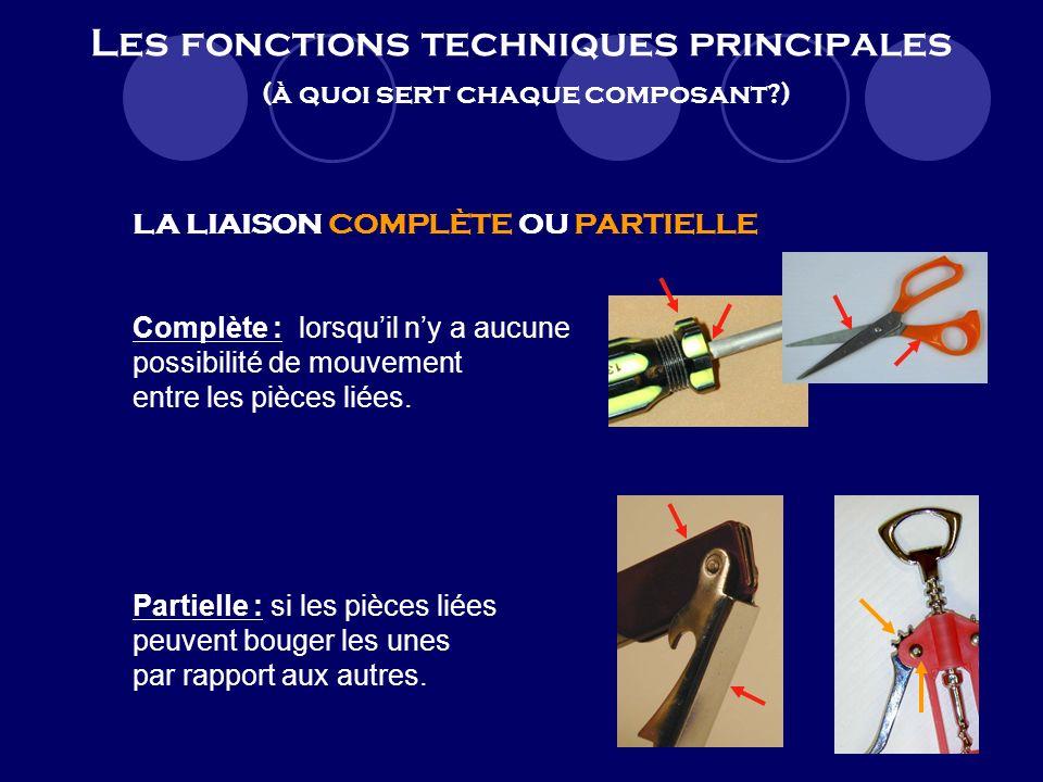 Les fonctions techniques principales (à quoi sert chaque composant?) LA LIAISON DÉMONTABLE OU INDÉMONTABLE Démontable : lorsquon peut séparer les pièc