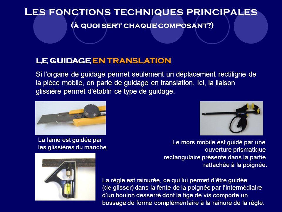 Les fonctions techniques principales (à quoi sert chaque composant?) LE GUIDAGE EN ROTATION Si lorgane de guidage permet seulement la rotation (partie