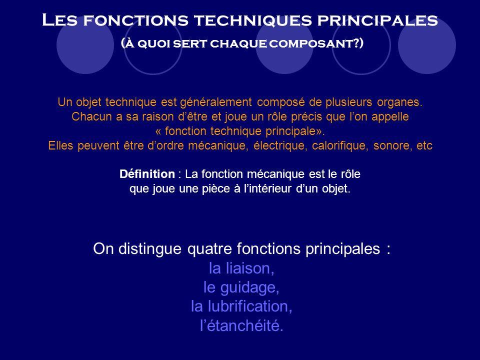 Les fonctions techniques principales (à quoi sert chaque composant?) Un objet technique est généralement composé de plusieurs organes.