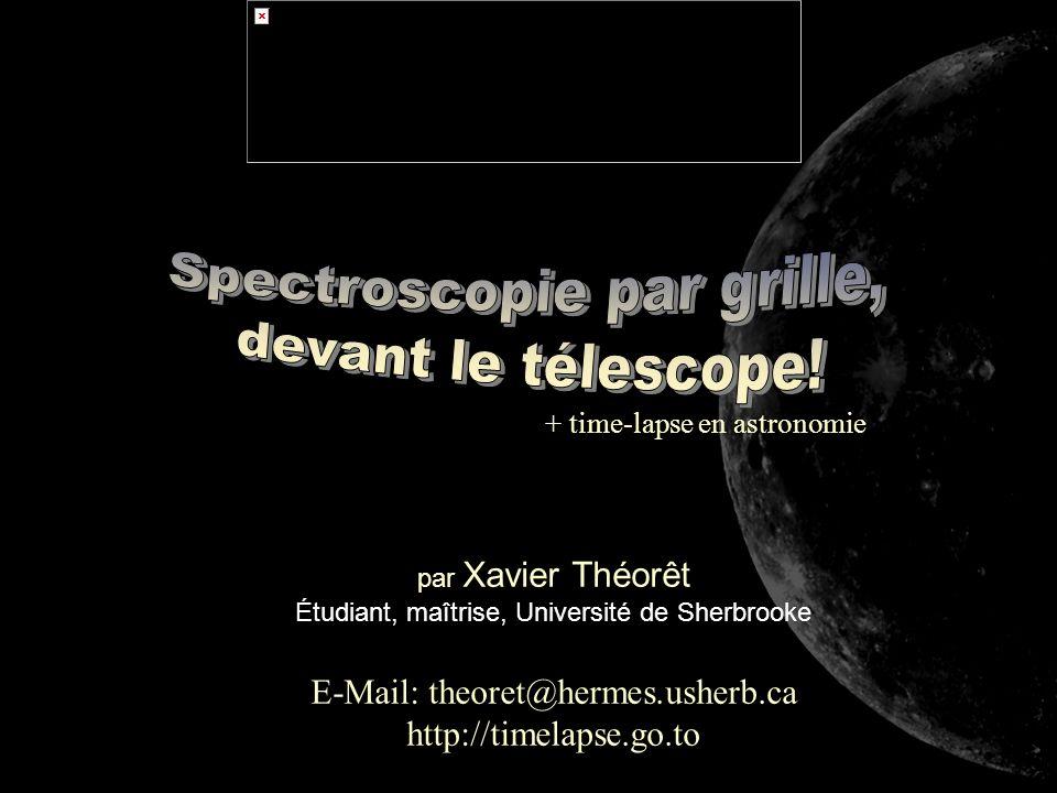 par Xavier Théorêt Étudiant, maîtrise, Université de Sherbrooke E-Mail: theoret@hermes.usherb.ca http://timelapse.go.to + time-lapse en astronomie