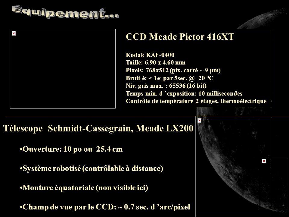 Télescope Schmidt-Cassegrain, Meade LX200 Ouverture: 10 po ou 25.4 cm Système robotisé (contrôlable à distance) Monture équatoriale (non visible ici) Champ de vue par le CCD: ~ 0.7 sec.