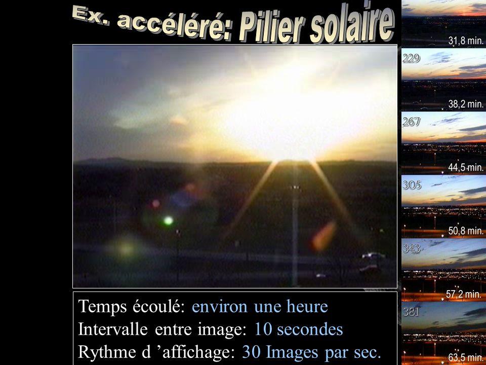 Temps écoulé: environ une heure Intervalle entre image: 10 secondes Rythme d affichage: 30 Images par sec.