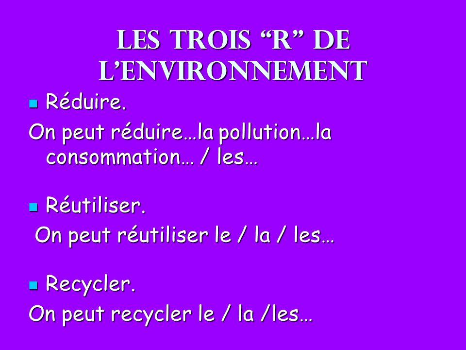 Les trois R de lenvironnement Réduire. Réduire. On peut réduire…la pollution…la consommation… / les… Réutiliser. Réutiliser. On peut réutiliser le / l