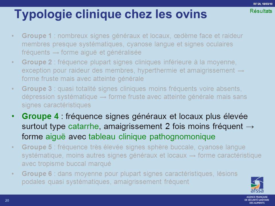 RFSA, 18/03/10 Typologie clinique chez les ovins Groupe 1 : nombreux signes généraux et locaux, œdème face et raideur membres presque systématiques, c