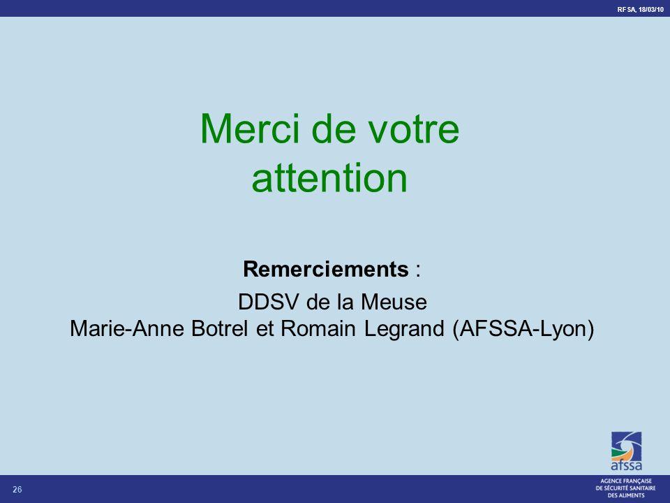 RFSA, 18/03/10 26 Merci de votre attention Remerciements : DDSV de la Meuse Marie-Anne Botrel et Romain Legrand (AFSSA-Lyon)