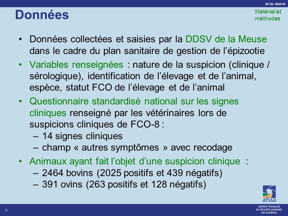 RFSA, 18/03/10 Données Données collectées et saisies par la DDSV de la Meuse dans le cadre du plan sanitaire de gestion de lépizootie Variables renseignées : nature de la suspicion (clinique / sérologique), identification de lélevage et de lanimal, espèce, statut FCO de lélevage et de lanimal Questionnaire standardisé national sur les signes cliniques renseigné par les vétérinaires lors de suspicions cliniques de FCO-8 : –14 signes cliniques –champ « autres symptômes » avec recodage Animaux ayant fait lobjet dune suspicion clinique : –2464 bovins (2025 positifs et 439 négatifs) –391 ovins (263 positifs et 128 négatifs) 6 Matériel et méthodes