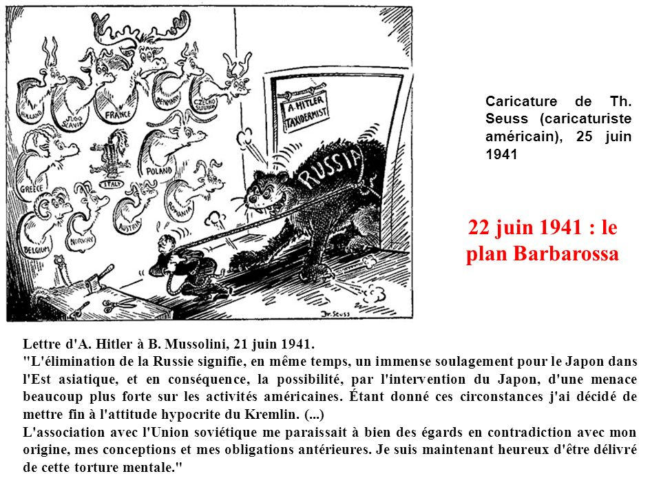 Caricature de Th. Seuss (caricaturiste américain), 25 juin 1941 22 juin 1941 : le plan Barbarossa Lettre d'A. Hitler à B. Mussolini, 21 juin 1941.