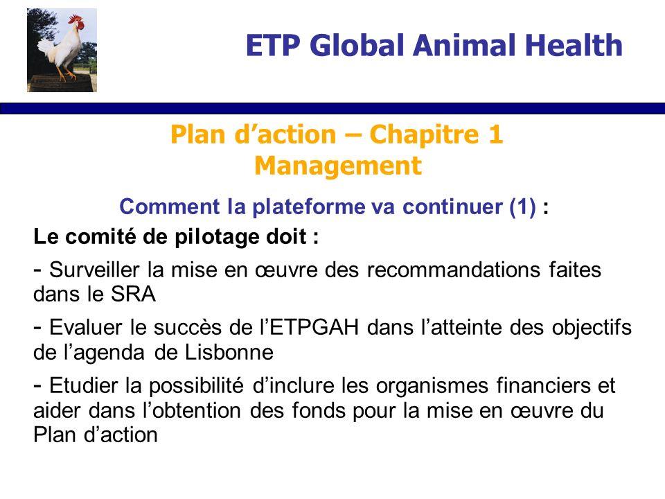 Comment la plateforme va continuer (1) : Le comité de pilotage doit : - Surveiller la mise en œuvre des recommandations faites dans le SRA - Evaluer le succès de lETPGAH dans latteinte des objectifs de lagenda de Lisbonne - Etudier la possibilité dinclure les organismes financiers et aider dans lobtention des fonds pour la mise en œuvre du Plan daction ETP Global Animal Health Plan daction – Chapitre 1 Management