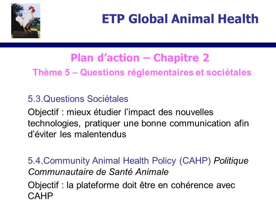 Thème 5 – Questions réglementaires et sociétales 5.3.Questions Sociétales Objectif : mieux étudier limpact des nouvelles technologies, pratiquer une bonne communication afin déviter les malentendus 5.4.Community Animal Health Policy (CAHP) Politique Communautaire de Santé Animale Objectif : la plateforme doit être en cohérence avec CAHP ETP Global Animal Health Plan daction – Chapitre 2
