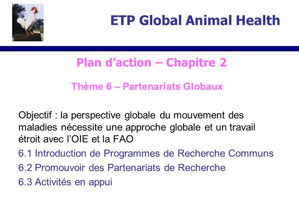 Thème 6 – Partenariats Globaux Objectif : la perspective globale du mouvement des maladies nécessite une approche globale et un travail étroit avec lOIE et la FAO 6.1 Introduction de Programmes de Recherche Communs 6.2 Promouvoir des Partenariats de Recherche 6.3 Activités en appui ETP Global Animal Health Plan daction – Chapitre 2