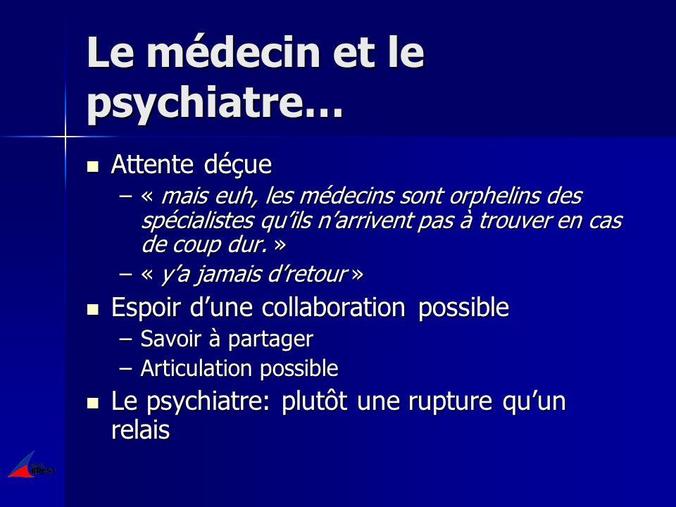 Le médecin et le psychiatre… Attente déçue Attente déçue –« mais euh, les médecins sont orphelins des spécialistes quils narrivent pas à trouver en cas de coup dur.