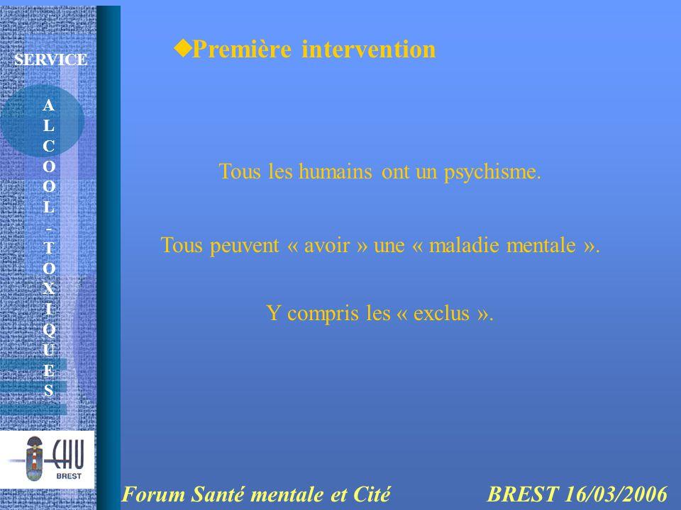 ALCOOL-TOXIQUESALCOOL-TOXIQUES SERVICE Première intervention Forum Santé mentale et Cité BREST 16/03/2006 Tous les humains ont un psychisme. Tous peuv