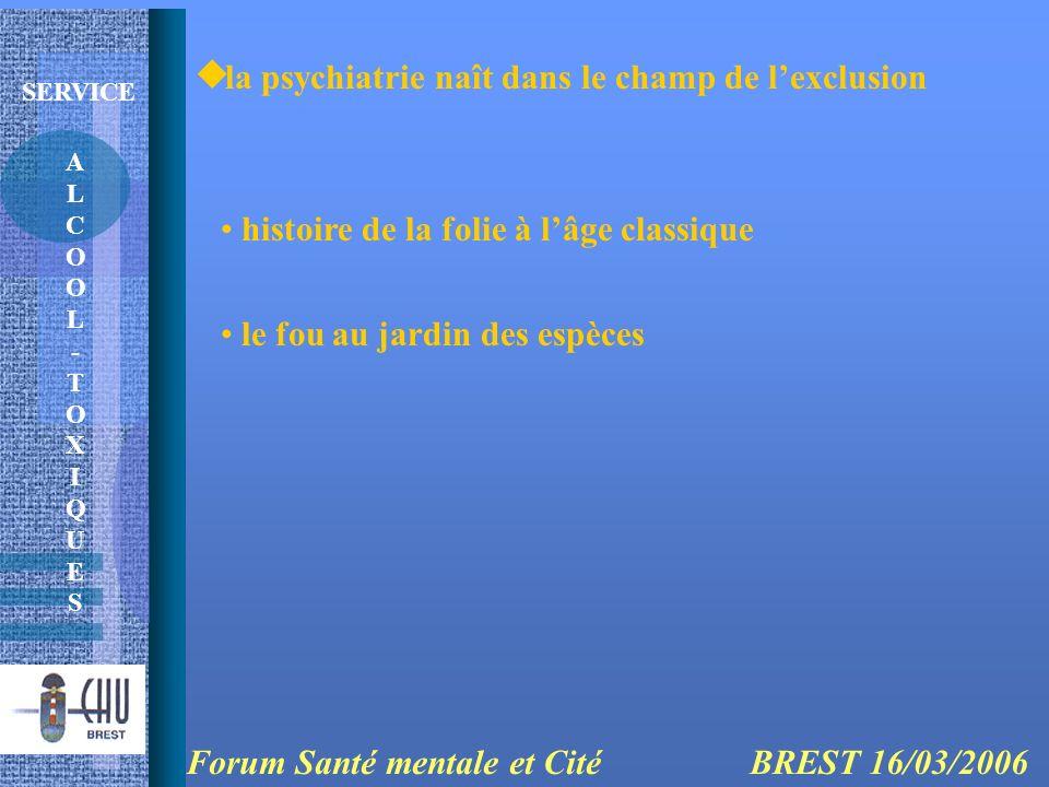 ALCOOL-TOXIQUESALCOOL-TOXIQUES SERVICE la psychiatrie naît dans le champ de lexclusion Forum Santé mentale et Cité BREST 16/03/2006 histoire de la fol