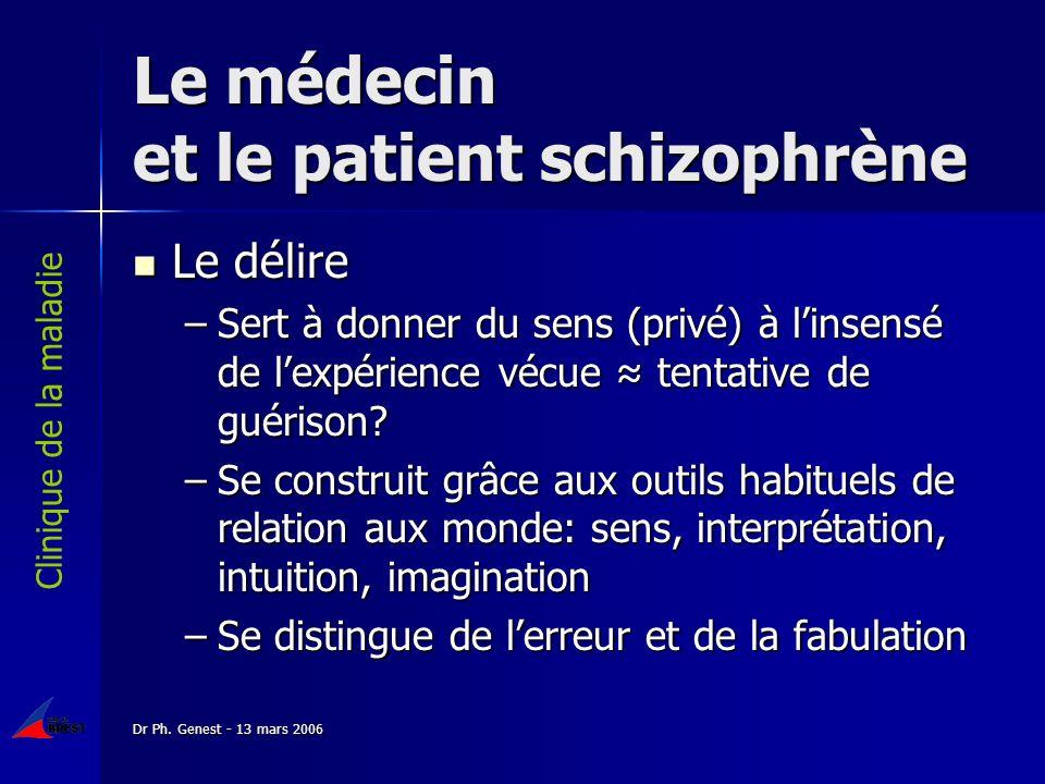 Dr Ph. Genest - 13 mars 2006 Le médecin et le patient schizophrène Le délire Le délire –Sert à donner du sens (privé) à linsensé de lexpérience vécue