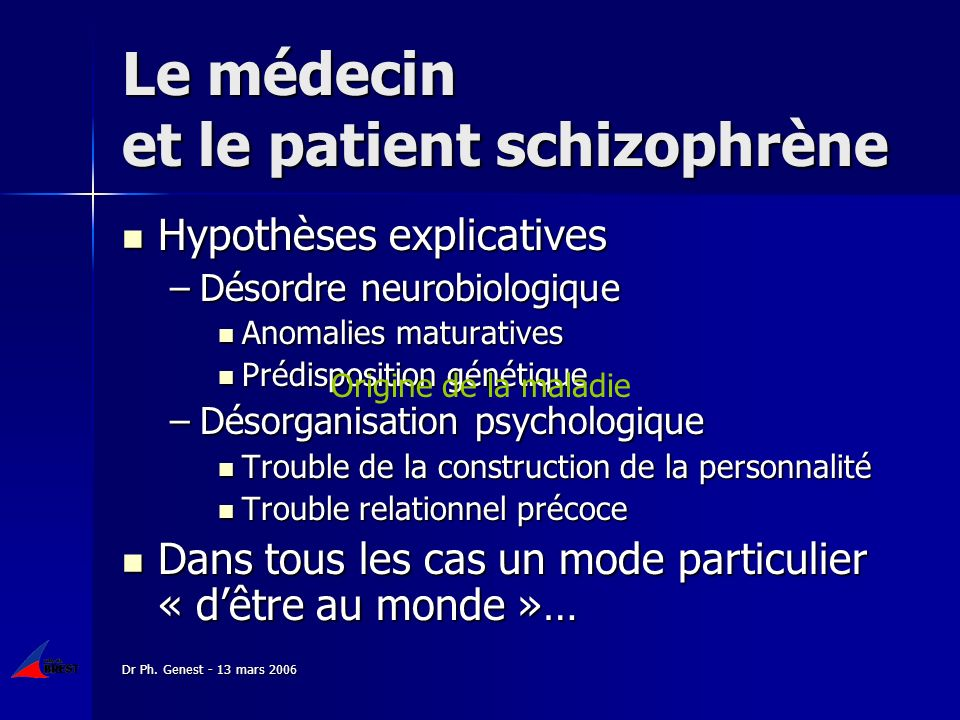 Dr Ph. Genest - 13 mars 2006 Le médecin et le patient schizophrène Hypothèses explicatives Hypothèses explicatives –Désordre neurobiologique Anomalies