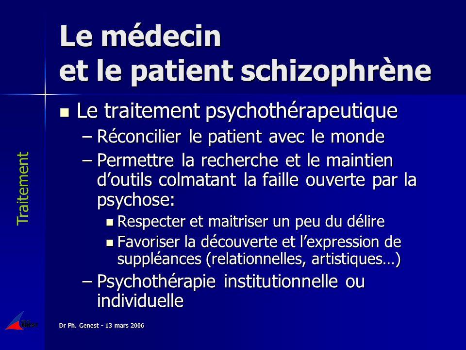 Dr Ph. Genest - 13 mars 2006 Le médecin et le patient schizophrène Le traitement psychothérapeutique Le traitement psychothérapeutique –Réconcilier le