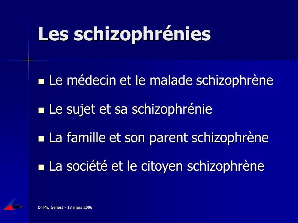 Dr Ph. Genest - 13 mars 2006 Les schizophrénies Le médecin et le malade schizophrène Le médecin et le malade schizophrène Le sujet et sa schizophrénie