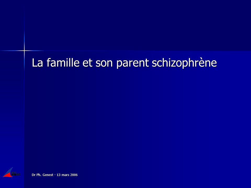 Dr Ph. Genest - 13 mars 2006 La famille et son parent schizophrène