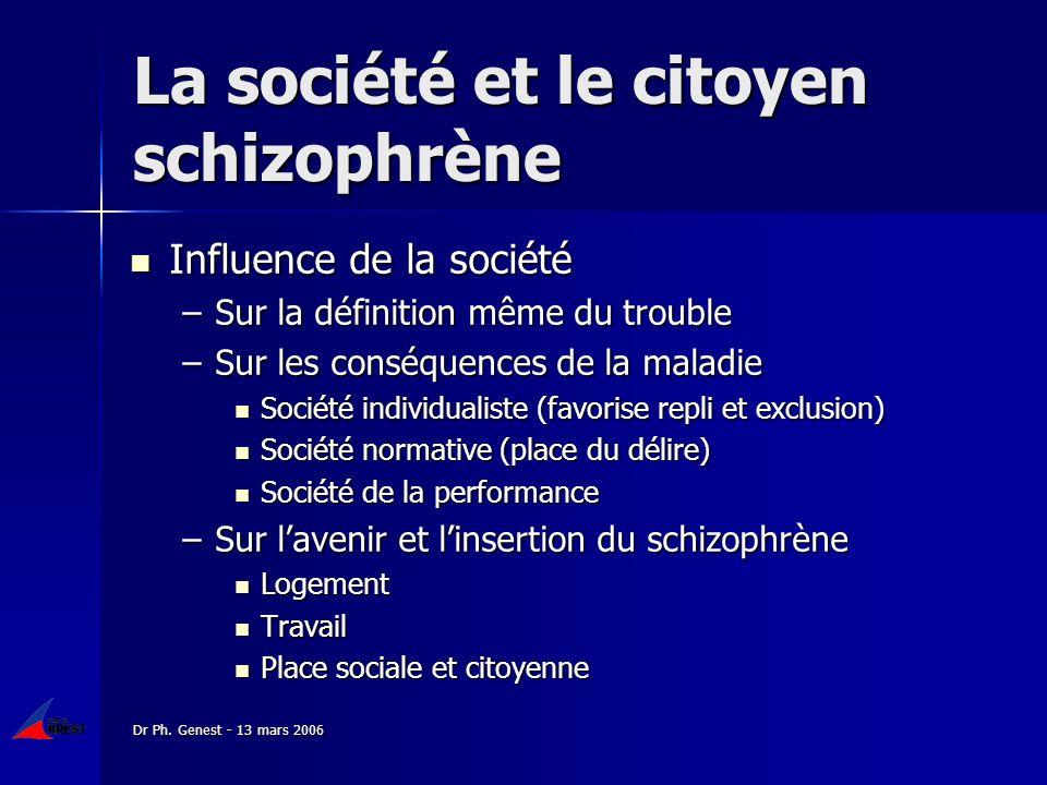 Dr Ph. Genest - 13 mars 2006 La société et le citoyen schizophrène Influence de la société Influence de la société –Sur la définition même du trouble