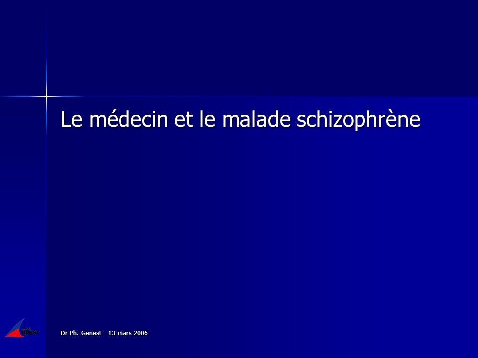 Dr Ph. Genest - 13 mars 2006 Le médecin et le malade schizophrène