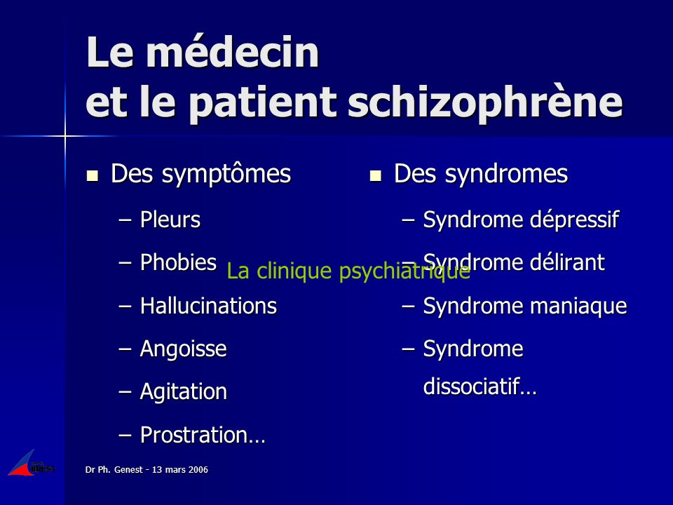 Dr Ph. Genest - 13 mars 2006 Des symptômes Des symptômes –Pleurs –Phobies –Hallucinations –Angoisse –Agitation –Prostration… Des syndromes Des syndrom