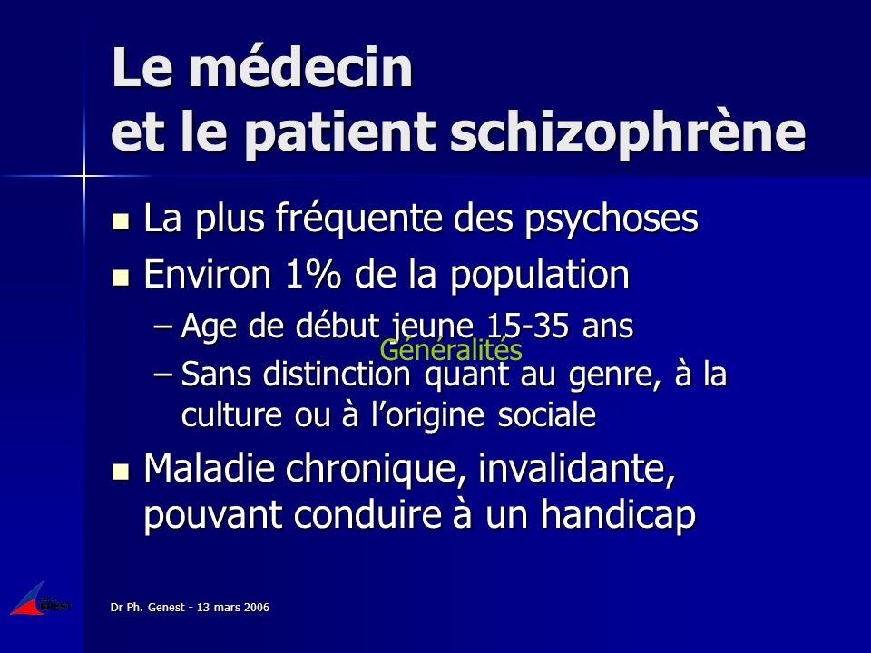 Dr Ph. Genest - 13 mars 2006 Le médecin et le patient schizophrène La plus fréquente des psychoses La plus fréquente des psychoses Environ 1% de la po