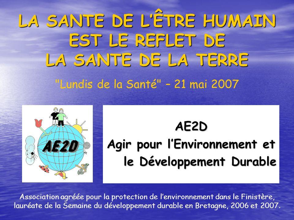 LA SANTE DE LÊTRE HUMAIN EST LE REFLET DE LA SANTE DE LA TERRE AE2D Agir pour lEnvironnement et le Développement Durable le Développement Durable Asso