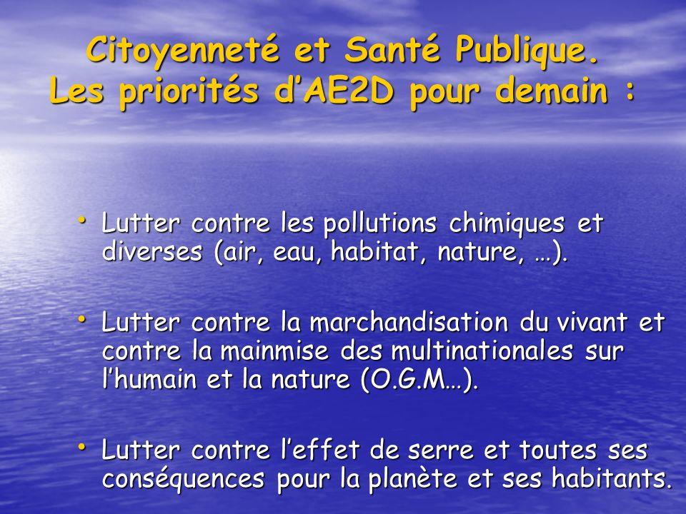 Citoyenneté et Santé Publique. Les priorités dAE2D pour demain : Lutter contre les pollutions chimiques et diverses (air, eau, habitat, nature, …). Lu