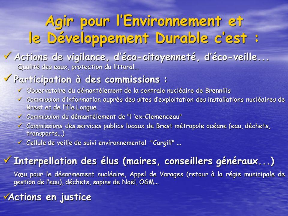 Agir pour lEnvironnement et le Développement Durable cest : Actions de vigilance, déco-citoyenneté, déco-veille... Actions de vigilance, déco-citoyenn