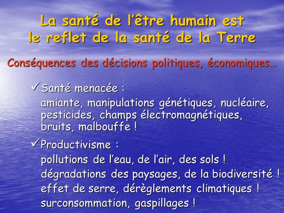 La santé de lêtre humain est le reflet de la santé de la Terre Santé menacée : Santé menacée : amiante, manipulations génétiques, nucléaire, pesticide