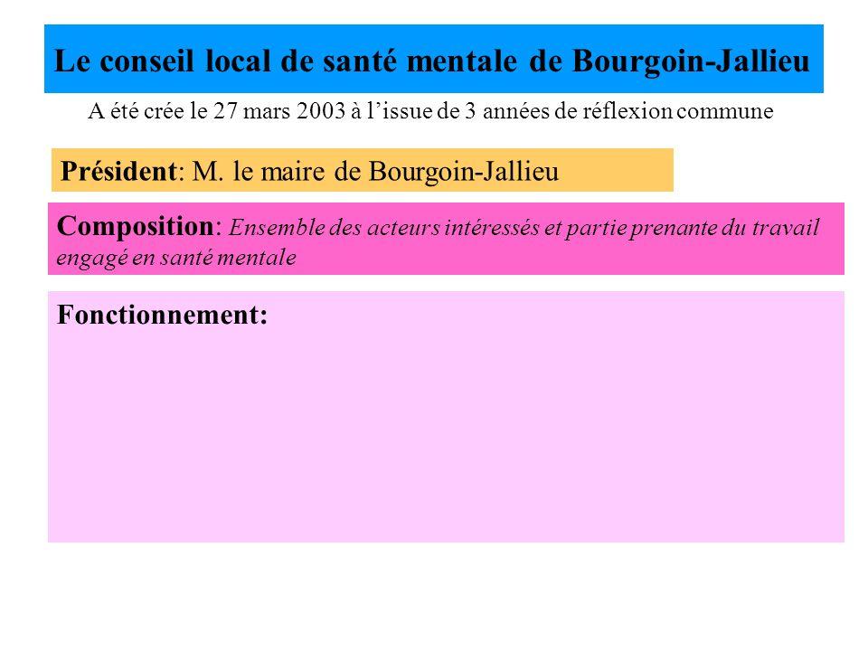 Le conseil local de santé mentale de Bourgoin-Jallieu A été crée le 27 mars 2003 à lissue de 3 années de réflexion commune Président: M. le maire de B