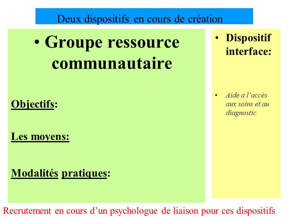 Deux dispositifs en cours de création Groupe ressource communautaire Objectifs: Les moyens: Modalités pratiques: Dispositif interface: Aide a laccès a