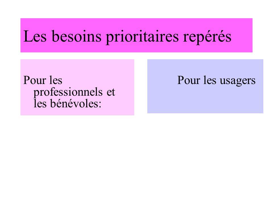 Les besoins prioritaires repérés Pour les professionnels et les bénévoles: Pour les usagers