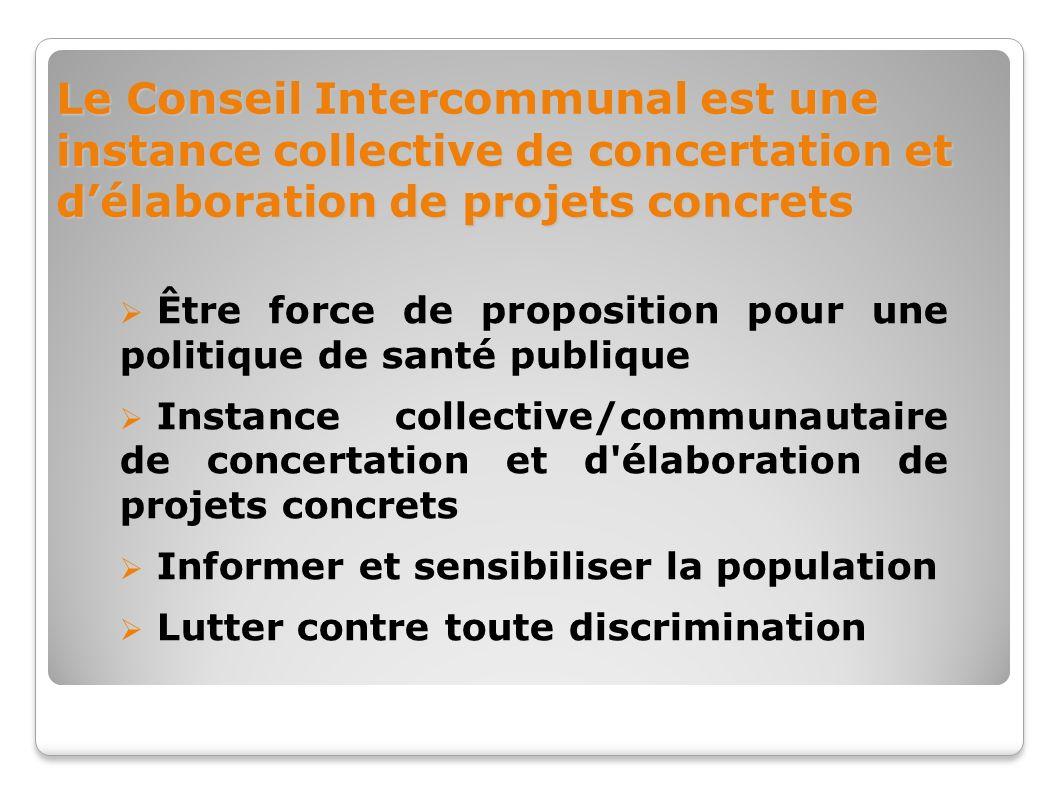 Le Conseil Intercommunal est une instance collective de concertation et délaboration de projets concrets Être force de proposition pour une politique