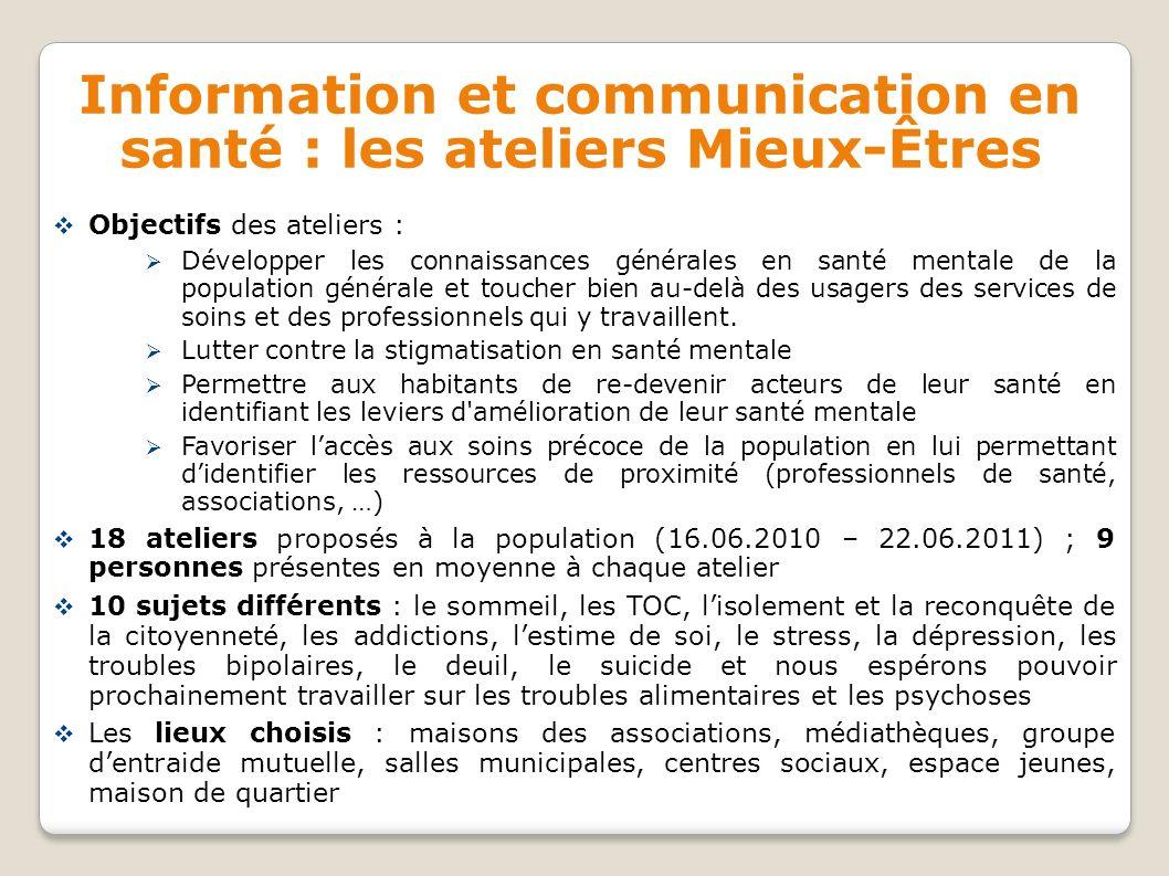 Information et communication en santé : les ateliers Mieux-Êtres Objectifs des ateliers : Développer les connaissances générales en santé mentale de l