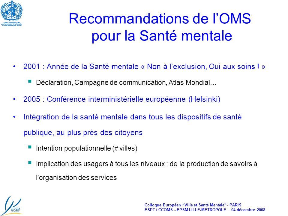 Colloque Européen Ville et Santé Mentale- PARIS ESPT / CCOMS - EPSM LILLE-METROPOLE – 04 décembre 2008 Recommandations de lOMS pour la Santé mentale 2001 : Année de la Santé mentale « Non à lexclusion, Oui aux soins .