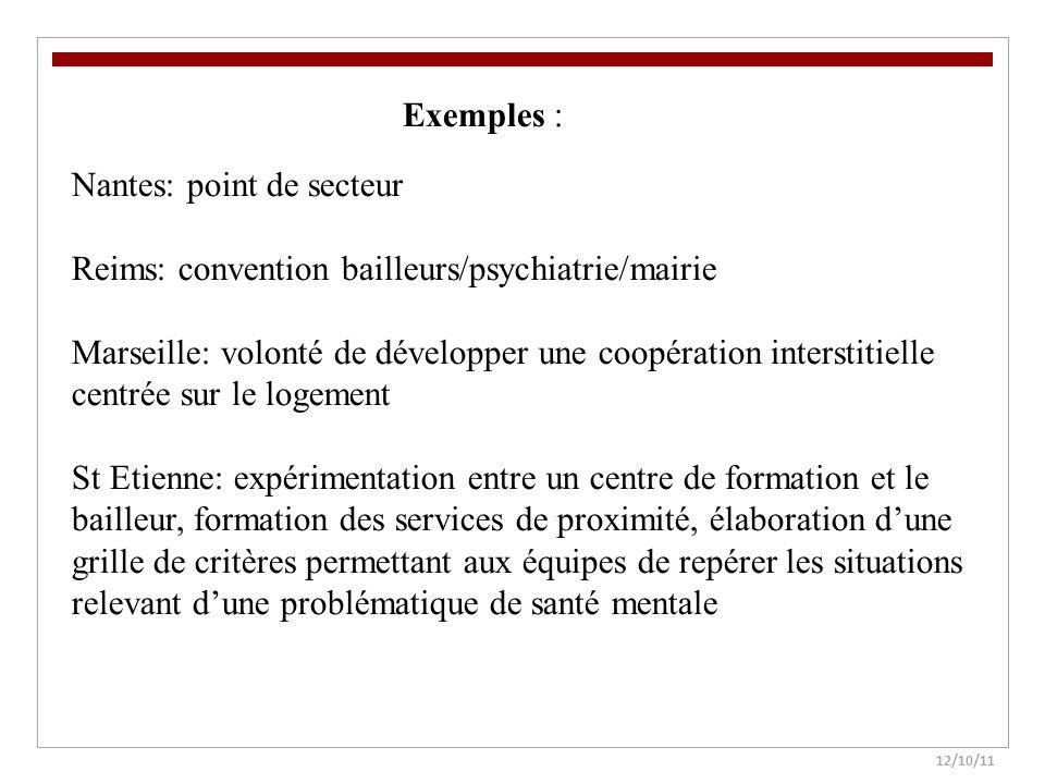 12/10/11 Nantes: point de secteur Reims: convention bailleurs/psychiatrie/mairie Marseille: volonté de développer une coopération interstitielle centr