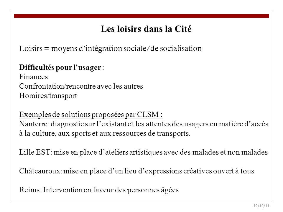 12/10/11 Les loisirs dans la Cité Loisirs = moyens dintégration sociale/de socialisation Difficultés pour l'usager : Finances Confrontation/rencontre