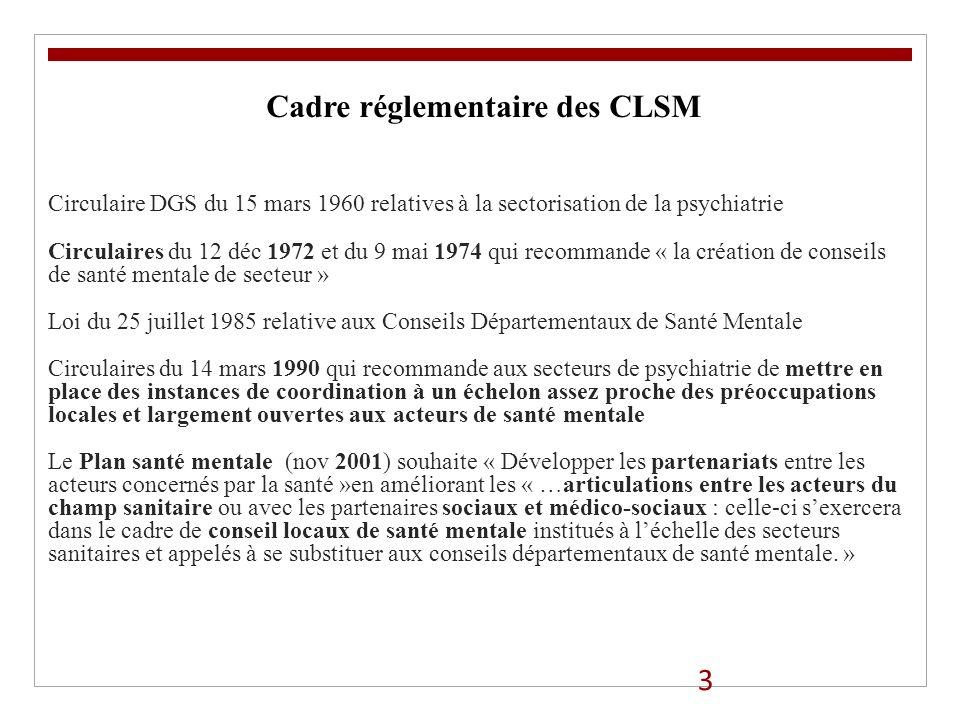 3 Cadre réglementaire des CLSM Circulaire DGS du 15 mars 1960 relatives à la sectorisation de la psychiatrie Circulaires du 12 déc 1972 et du 9 mai 19