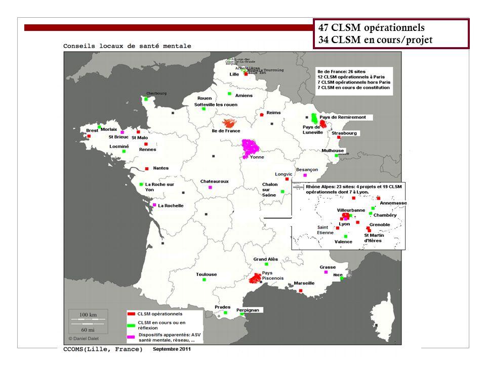 47 CLSM opérationnels 34 CLSM en cours/projet