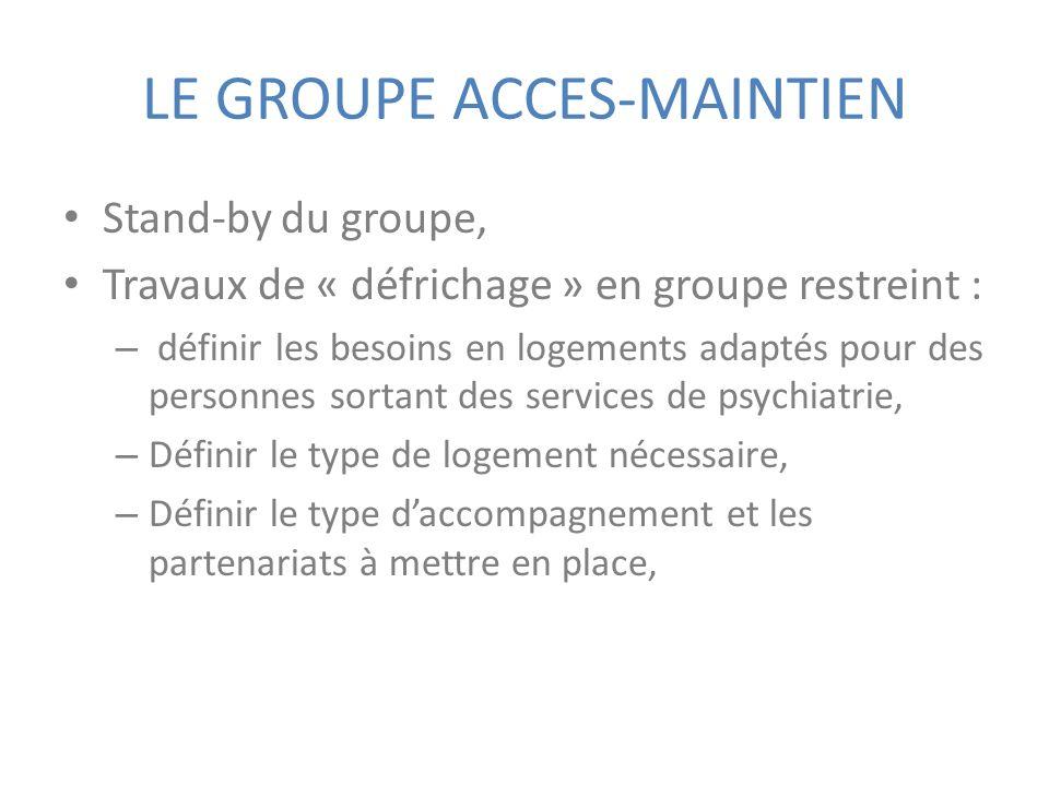 LE GROUPE ACCES-MAINTIEN Stand-by du groupe, Travaux de « défrichage » en groupe restreint : – définir les besoins en logements adaptés pour des perso