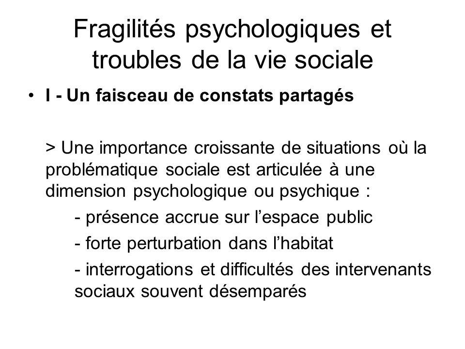 Fragilités psychologiques et troubles de la vie sociale I - Un faisceau de constats partagés > Une importance croissante de situations où la problémat