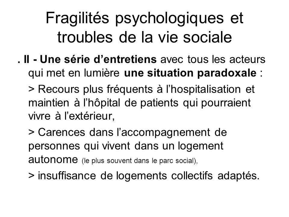 Fragilités psychologiques et troubles de la vie sociale. II - Une série dentretiens avec tous les acteurs qui met en lumière une situation paradoxale