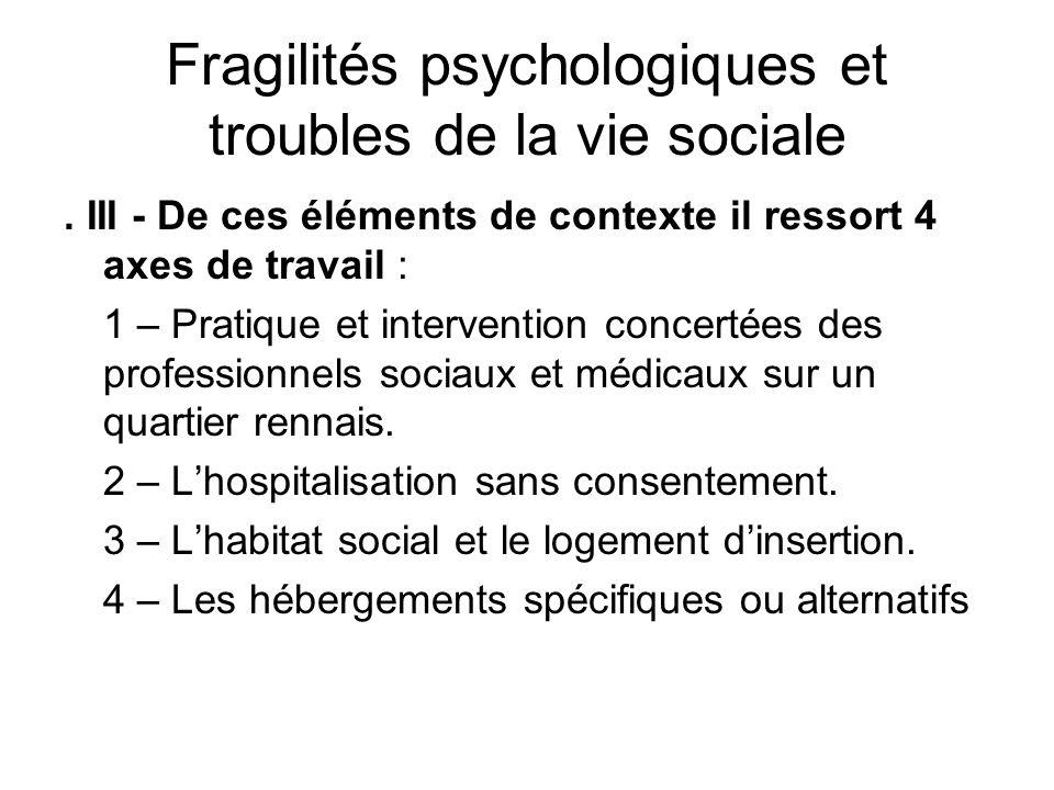 Fragilités psychologiques et troubles de la vie sociale. III - De ces éléments de contexte il ressort 4 axes de travail : 1 – Pratique et intervention