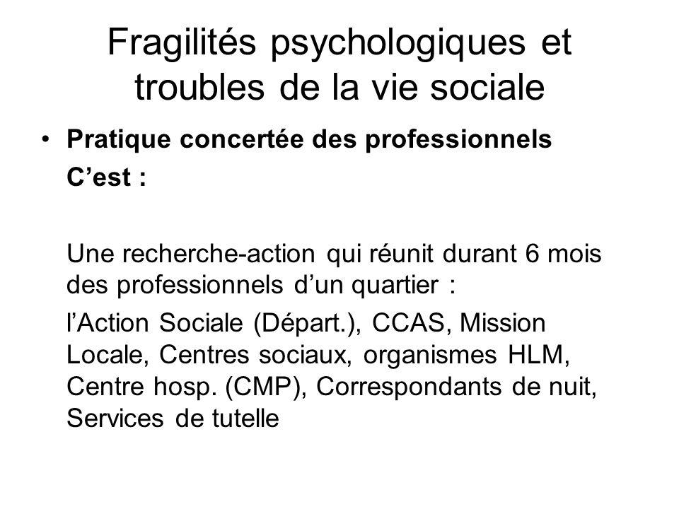 Fragilités psychologiques et troubles de la vie sociale Pratique concertée des professionnels Cest : Une recherche-action qui réunit durant 6 mois des