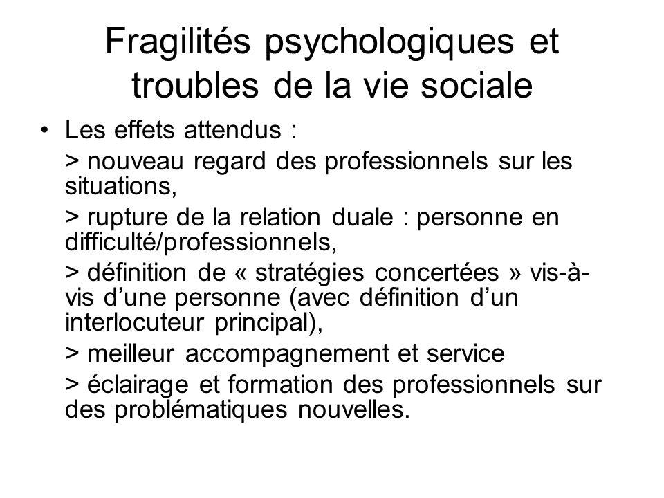 Fragilités psychologiques et troubles de la vie sociale Les effets attendus : > nouveau regard des professionnels sur les situations, > rupture de la